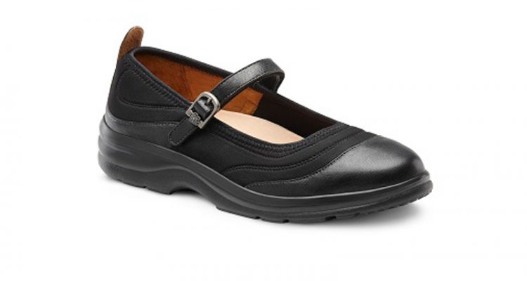 black flute lycra shoe with a strap and buckle across it