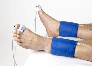 Person's Toe Brachial Pressure Index being tested